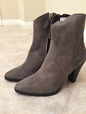 NWT ZARA GRAY LEATHER COWBOY HEELED ANKLE BOOTS SIZE 8/39