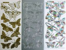 BUTTERFLIES Outline Butterfly Type 4 PEEL OFF STICKERS Cardmaking Three Colours