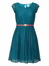 Ex Debenhams YUMI GIRL LACE SKATER dress WITH BELT rrp-£34 two colours and sizes