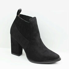 WOMENS LADIES COWBOY STYLE CHUNKY CUBAN HEEL ANKLE BOOTS SHOES SIZE 2-7