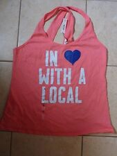 "VICTORIAS SECRET PINK ""IN LOVE WITH A LOCAL"" CRISS CROSS TANKTOP TEESHIRT NWT"