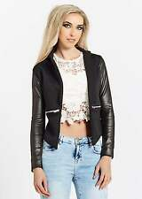 Womens Black Quilted Faux Leather Blazer Jacket Glam Ladies Fashion
