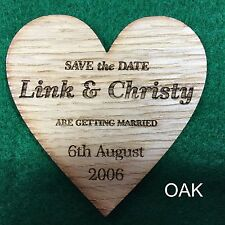 Personalized solid wood wooden oak walnut Save the Date wedding magnets Heart