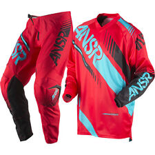 NEW 2017 ANSWER RACING SYNCRON PANT JERSEY GEAR COMBO YOUTH RED/TEAL + FREE NAME
