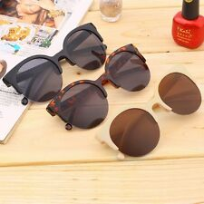 Retro Black Lens Vintage Men Women Round Frame Sunglasses Glasses Eyewear New DE