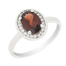 Vintage Style Sterling Silver Oval Cut Natural Mozambique Garnet Ring R012MG