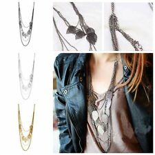 Long Gift Chic Sweater Chain Multi-layer Leaf Necklace Jewelry Pendant