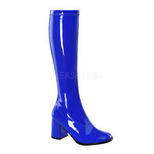 PLEASER FUNTASMA GoGo-300 Navy Blue Stretch 70s Disco Fancy Dress Knee Boots