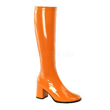 PLEASER FUNTASMA GoGo-300 Orange Patent Stretch 70s Disco Fancy Dress Knee Boots