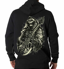 Grim Reaper Playing Guitar Rock Music Cool Hooded Sweatshirt Hoodie