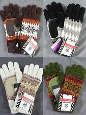 NWT Isotoner Women's Chenille Microluxe Thinsulated Knit Winter Gloves Snowflake