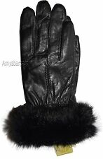 New Women's Fur Trimmed leather gloves, Warm Lined Winter Gloves Black Gloves BN