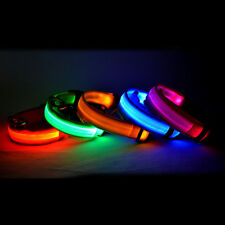 Nylon Pet  Safety Dog LED Collar Blinking Night Flashing Light Glow Adjustable