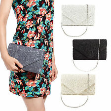 Womens Ladies Lace Clutch Bag Wedding Bridal Bag Evening Prom Fashion Handbag
