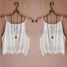 Fashion Summer Ladies Strappy Tank Tops Vest Lace Crochet Crop Tops Blouse Shirt