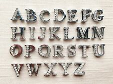 A-Z Charms 8mm A-Z half Clear Rhinestone Slide letters Charm DIY fit pet collar