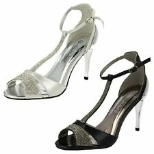 Ladies Anne Michelle Diamante T-Bar Sandals F10279 ~ K