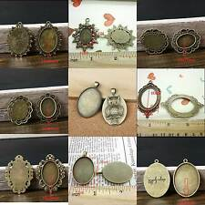 15PCS Antique Bronze Oval Frame Tray Charm Pendant Blank Bezel Setting for Cameo