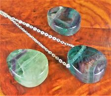 Rainbow Fluorite Necklace - Drilled Crystal Pendant Tumbled Gemstone Bead (BB41)
