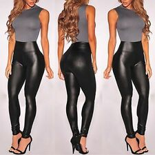 Ladies High Waist Black Faux Leather Leggings Wet Look Stretchy Tight Pants JF