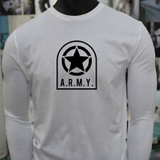 ARMY STAR PATCH NAVY ARMED FORCES MILITARY MARINE Mens White Long Sleeve T-Shirt