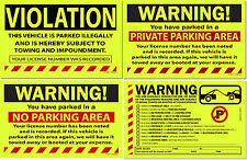 Yellow Lot of 50, 25 or 10 Warning! Private No Parking Violation Towing Stickers