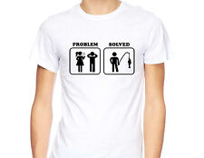 Fishing T-shirt Funny Gift For Fisherman Tee Problem Solved Fish Mens shirt D121