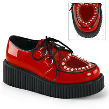 Demonia Creepers 108 Unisex Goth Punk Rockabilly Creeper Red Patent Shoes
