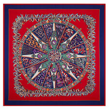 "New Arrival Women's Compass Printed Silk Square Scarf with  Pattern 51""*51"""