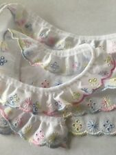 Broderie Anglaise Lace trim White, blue pink, yellow - Various Lengths