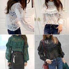 Fashion Women's Loose Casual Hollow Out Lace Long Sleeves Tee Shirt Blouse Tops