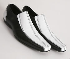 The ETON Black & White Leather LOAFER by Delicious Junction Badger shoe