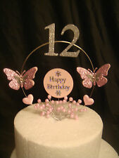 pink glitter butterfly pink pearl spray heart any age  birthday cake topper