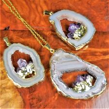 Oco Geode Slice Necklace Amethyst Point Gold Pendant LR6 Healing Crystals Stones
