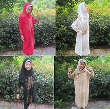 Kids Girls Dress Abaya Muslim Islamic Scarf Hijab Arab Kaftan Maxi Dress Outfits