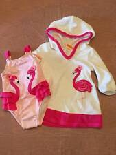 NWT Gymboree Fruit Punch Pink Flamingo Swimsuit & Terry Cover-up 6-12M