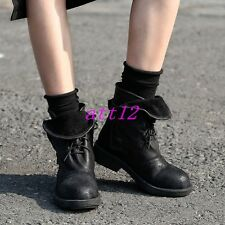 New Vintage Womens Ankle Boot Lace UP Roma Motorcycle Military Flat Casual Shoes
