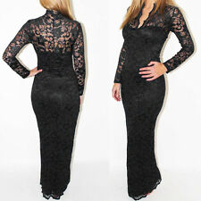 Sexy Backless Long Sleeve Lace Womens Cocktail Party Maxi Dress Clubwear Solid