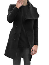 Mens Fashion Button Closure Buttons Decor Sleeve Casual Trench Coat