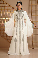 NEW Moroccan Cream Georgette Arabian Fancy Modern Dubai Abaya Maxi Dress 3580