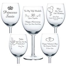 Personalised Engraved Wine Glass birthday wedding bridesmaid 18th 21st 50th gift