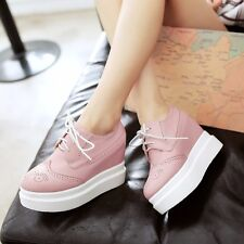 Womens Synthetic Leather High Heels Wedges & Platforms Solid Lace Up Lady Shoes