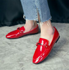Womens Patent Leather Ballet Flats Buckle Oxfords Round Toe Pull On Loafers Shoe