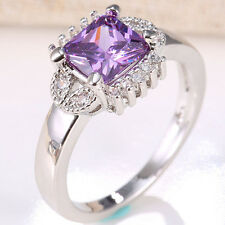 Princess Cut Natural 1.7ct Amethyst 925 Silver Ring Wedding Engagement Size 6-12