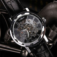 New Classic Men's Black Leather Dial Skeleton Mechanical Sport Army Wrist Watch