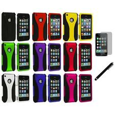 For iPhone 3G 3GS Color Black 3-Piece Rubberized Case Cover+LCD Film+Stylus
