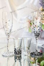 Swarovski Crystal Pearl Personalized Wedding Champagne Toasting Glasses Flutes