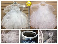 New Baby Girls Christening/Baptism Dress>White>Bow>>Sizes 00-6 :)