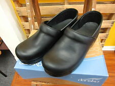 DANSKO PROFESSIONAL OILED Black Leather Slip On Closed Back Clog Shoes