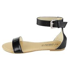 Women's Ankle Strap Gladiator Sandals With Buckle Causal Shoes Flat Khaki Wedge